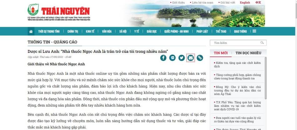 Báo Thái Nguyên nói về nhà thuốc Ngọc Anh