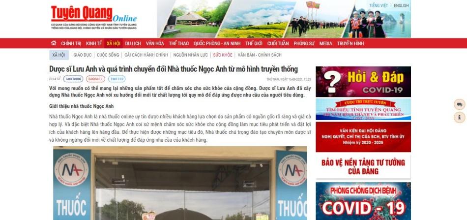 Báo Tuyên Quang nói về nhà thuốc Ngọc Anh